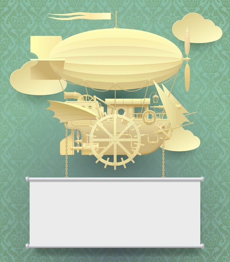 Modello di carta d'annata dello steampunk con un volo fantastico complesso illustrazione di stock