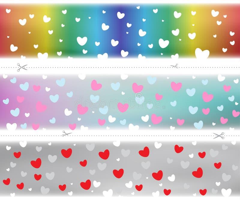 Modello di colore del modello dei cuori del biglietto di S. Valentino royalty illustrazione gratis