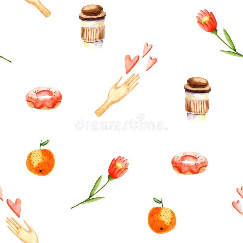 Modello di colore dell'acqua caffè, mano, cuori, ciambella, fiore, arancia Fogli luminosi isolati su bianco Pittura a mano royalty illustrazione gratis
