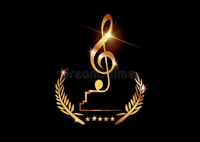 Modello di concetto del vincitore dei premi di musica di vettore dell'oro migliore con il fondo isolato o nero brillante dorato d illustrazione vettoriale