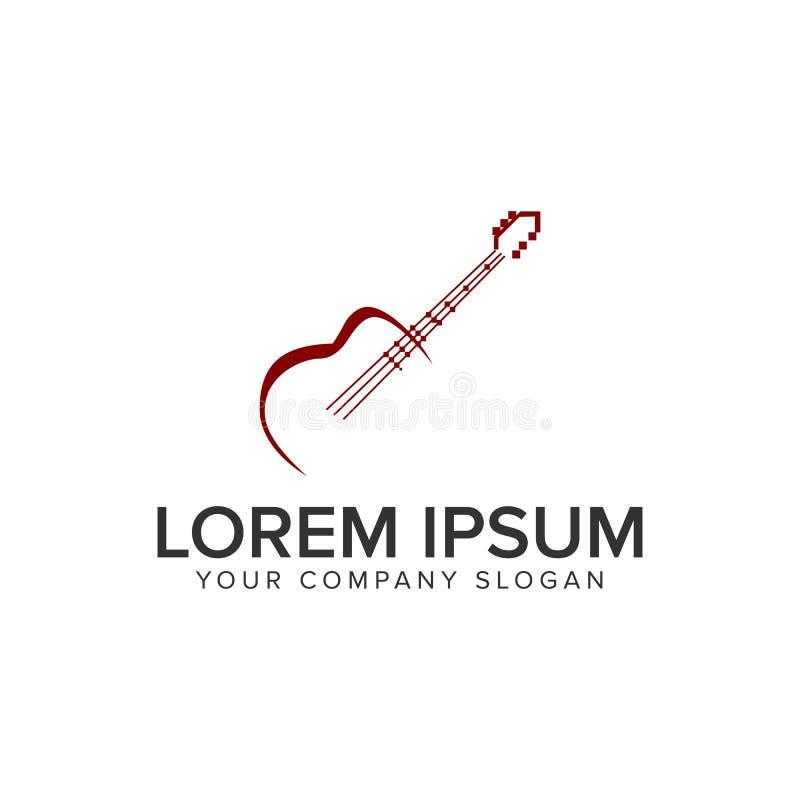 Modello di concetto di progetto di logo della chitarra Completamente editable illustrazione vettoriale