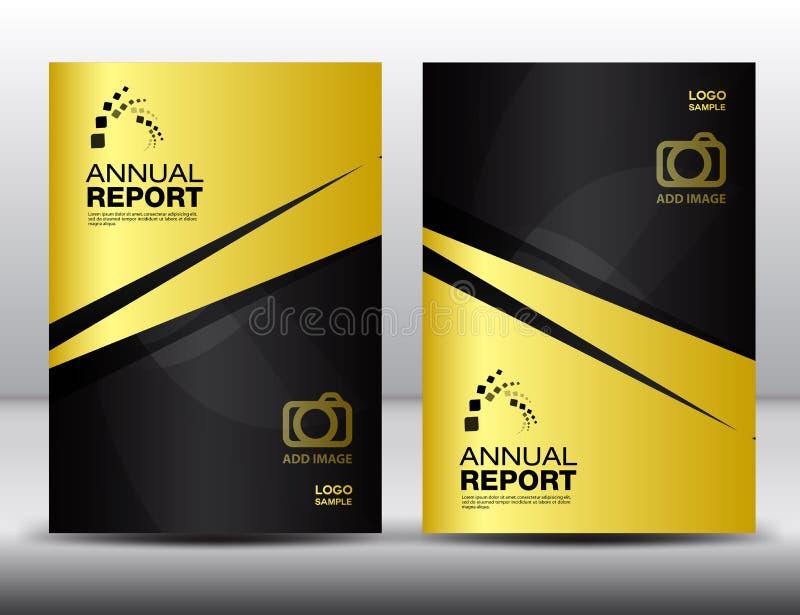 Modello di copertura dell'oro, rapporto annuale, aletta di filatoio dell'opuscolo di affari royalty illustrazione gratis