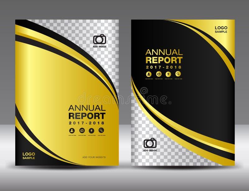 Modello di copertura dell'oro, rapporto annuale della copertura, affare di progettazione della copertura illustrazione di stock
