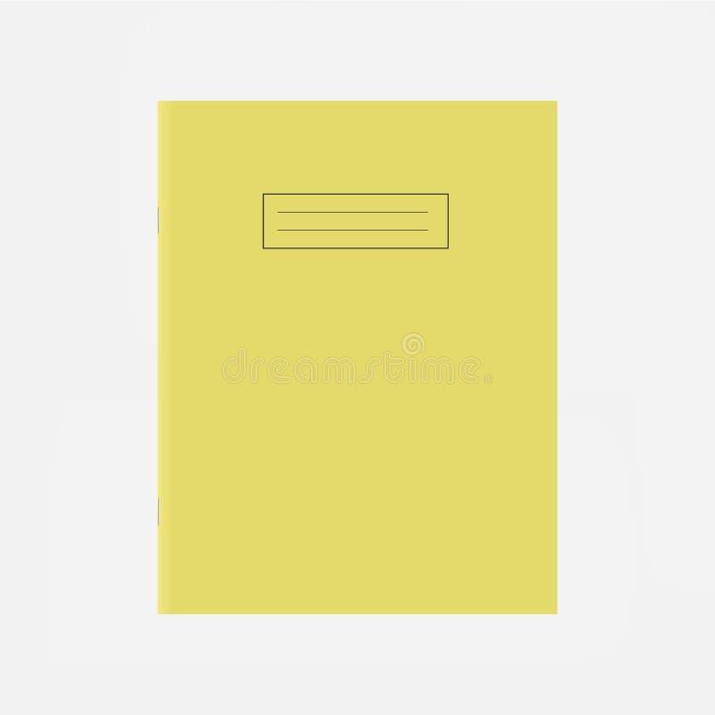 Modello di copertura giallo del quaderno della scuola Pagina in bianco della cima del libro di esercizi illustrazione di stock