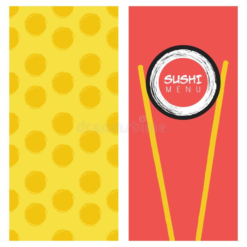 Modello di copertura giapponese del menu dei sushi del ristorante di cucina illustrazione di stock