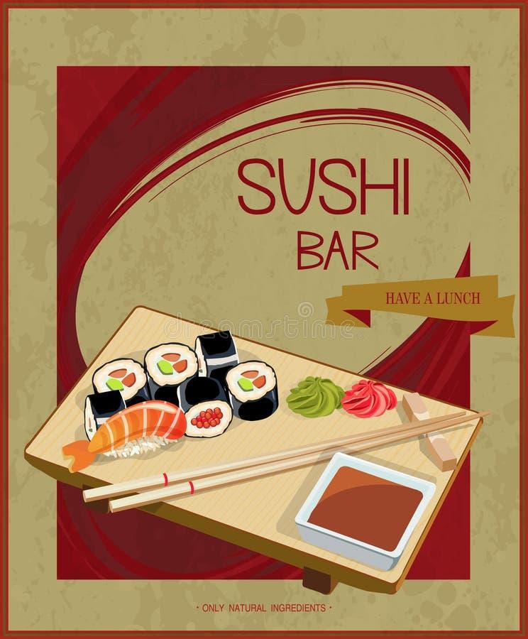 Modello di copertura giapponese del menu dei sushi del ristorante di cucina nello stile d'annata illustrazione di stock