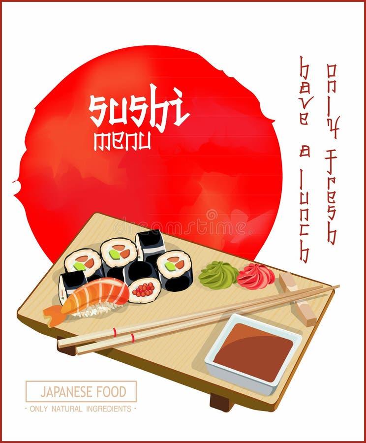 Modello di copertura giapponese del menu dei sushi del ristorante di cucina nello stile d'annata royalty illustrazione gratis