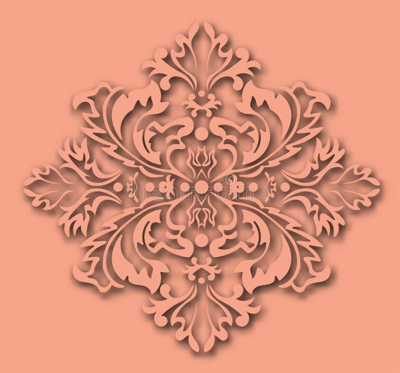 Modello di Coral Color Grunge Modern Damask Illustrazione di vettore illustrazione vettoriale