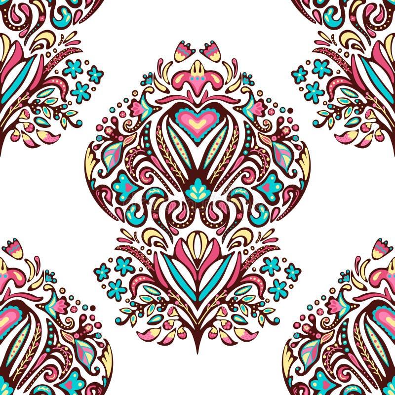 Modello di damasco senza saldatura Filato di pasta a mano Sfondo floreale disegnato a mano illustrazione di stock