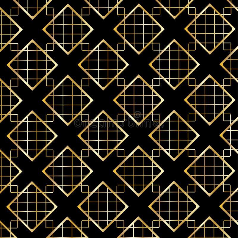 Modello di Diamond Checkered dell'oro sul nero royalty illustrazione gratis