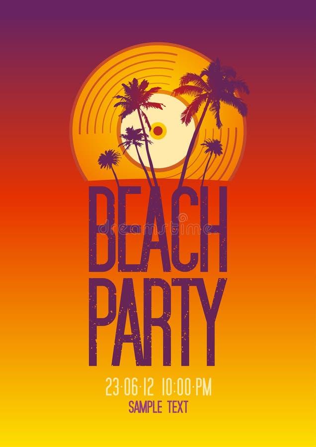 Modello di disegno del partito della spiaggia. illustrazione di stock