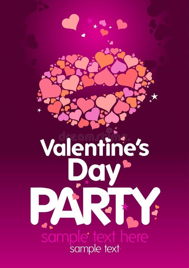 Modello di disegno del partito di giorno del `s del biglietto di S. Valentino. royalty illustrazione gratis
