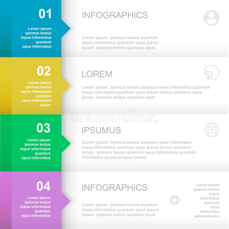 Modello di disegno di Infographics insegne numerate illustrazione vettoriale