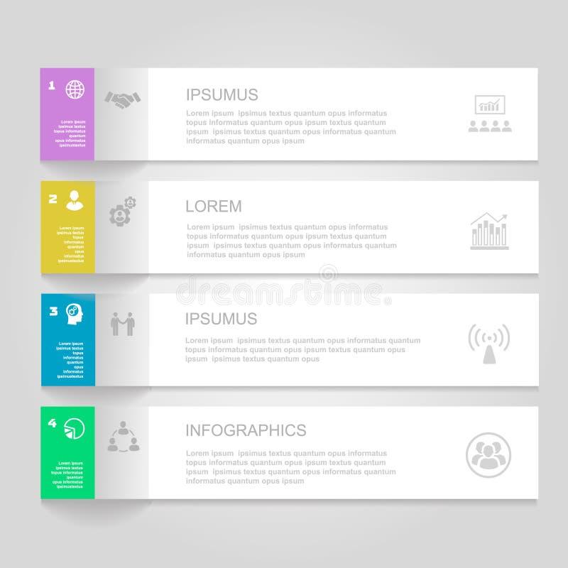 Modello di disegno di Infographics insegne numerate illustrazione di stock