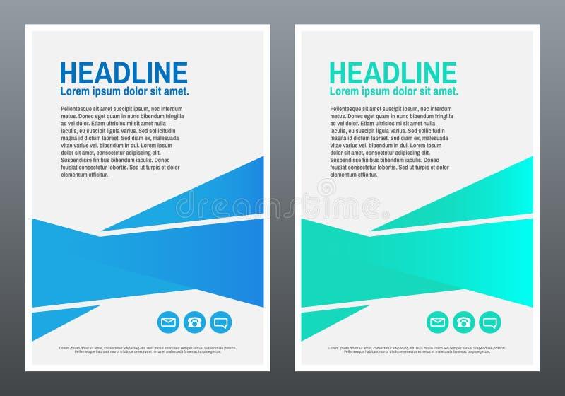 Modello di disegno Pendenze geometriche blu e verdi Libro o opuscolo della copertura Rettangoli blu 2 Vettore illustrazione di stock