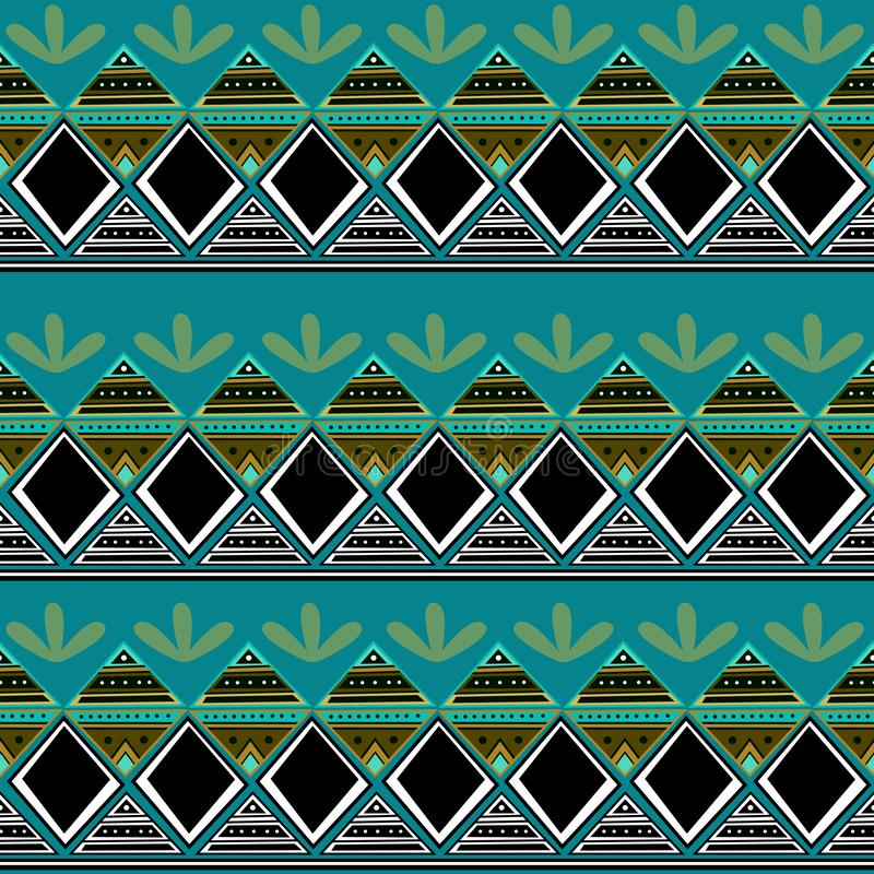 Modello di disegno tribale variopinto con progettazione azteca africana disegnata a mano illustrazione di stock