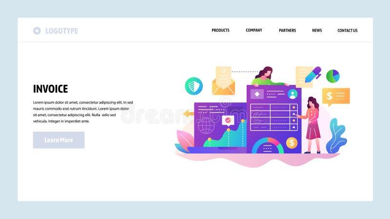 Modello di disegno di Web site di vettore Documenti di affari e gestione di finanza, pagamento della fattura Concetti della pagin illustrazione vettoriale