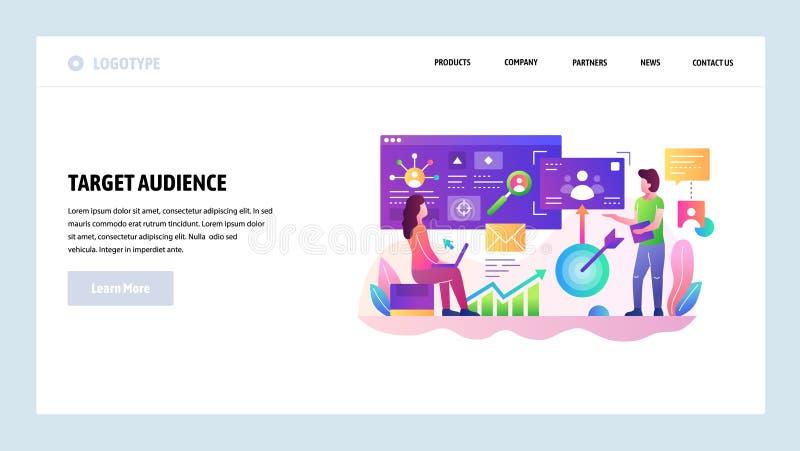 Modello di disegno di Web site di vettore Pubblico del cliente dell'obiettivo e scopi di vendita Sviluppo di affari Pagina di att royalty illustrazione gratis