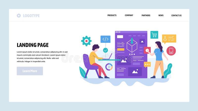 Modello di disegno di Web site di vettore Sviluppo di software, programmatore e creatore di software codificanti un'applicazione  royalty illustrazione gratis