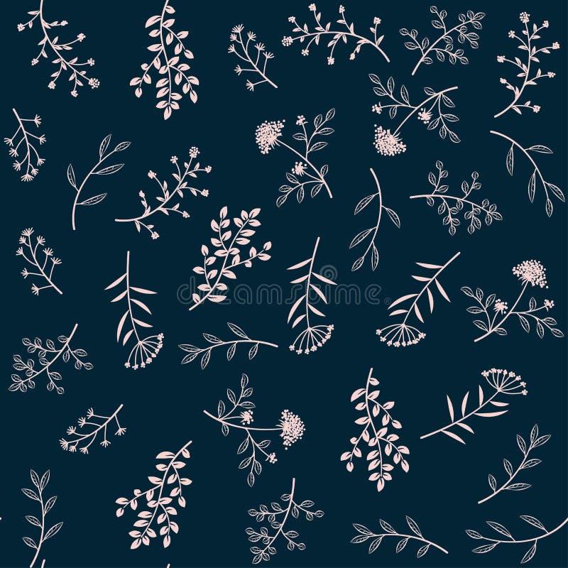 Modello di erbe di vettore senza cuciture Lo scarabocchio fiorisce l'ornamento nel retro stile illustrazione vettoriale