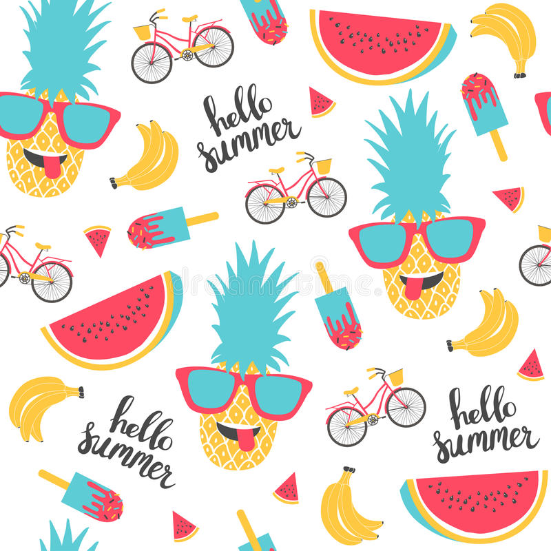 Modello di estate Anguria, ananas e bicicletta illustrazione di stock
