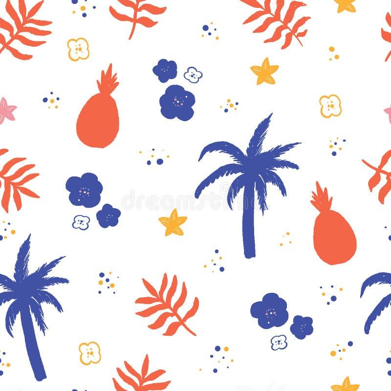 Modello di estate nell'illustrazione di vettore di stile del fumetto Fondo della spiaggia con la palma illustrazione di stock