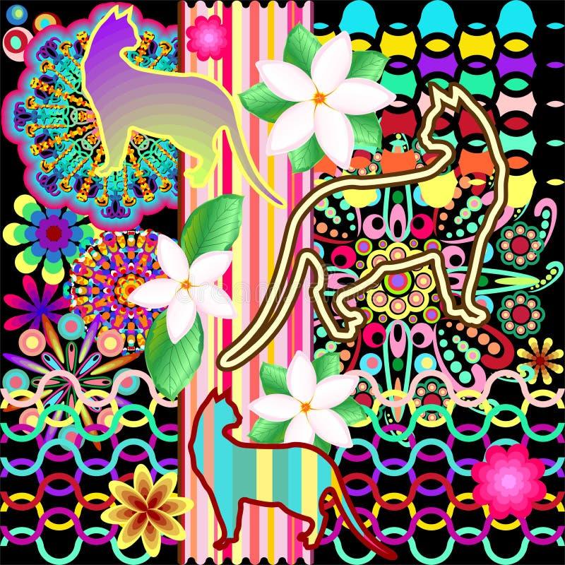 Modello di fantasia delle mandale, dei gatti & dei fiori illustrazione di stock