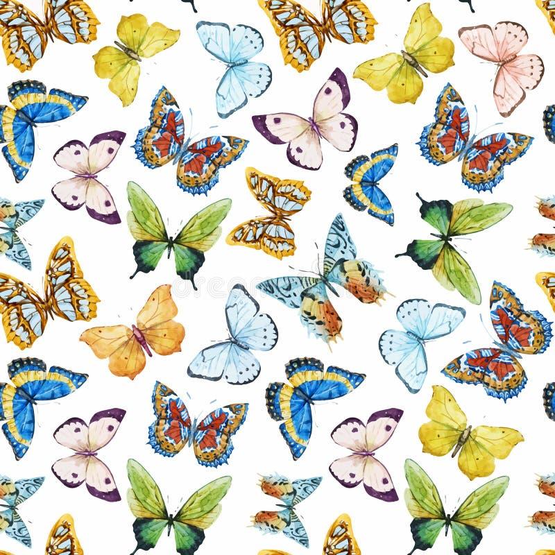 Modello di farfalla dell'acquerello illustrazione vettoriale