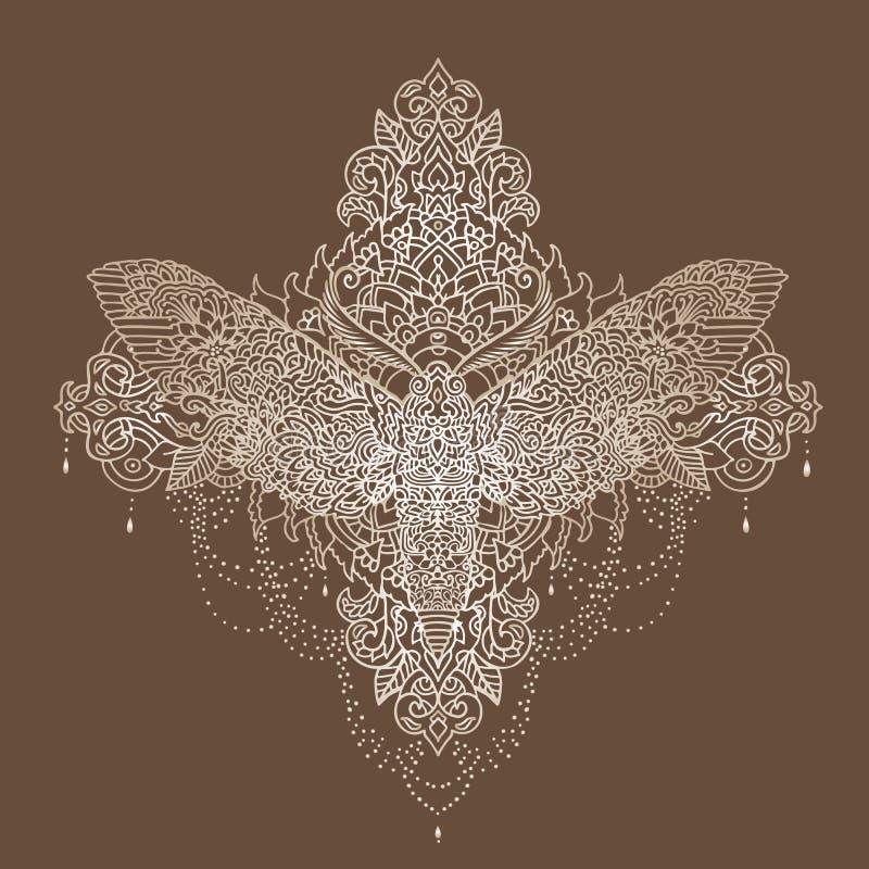 Modello di farfalla di notte Illustrazione di vettore Stile di Zentangle royalty illustrazione gratis