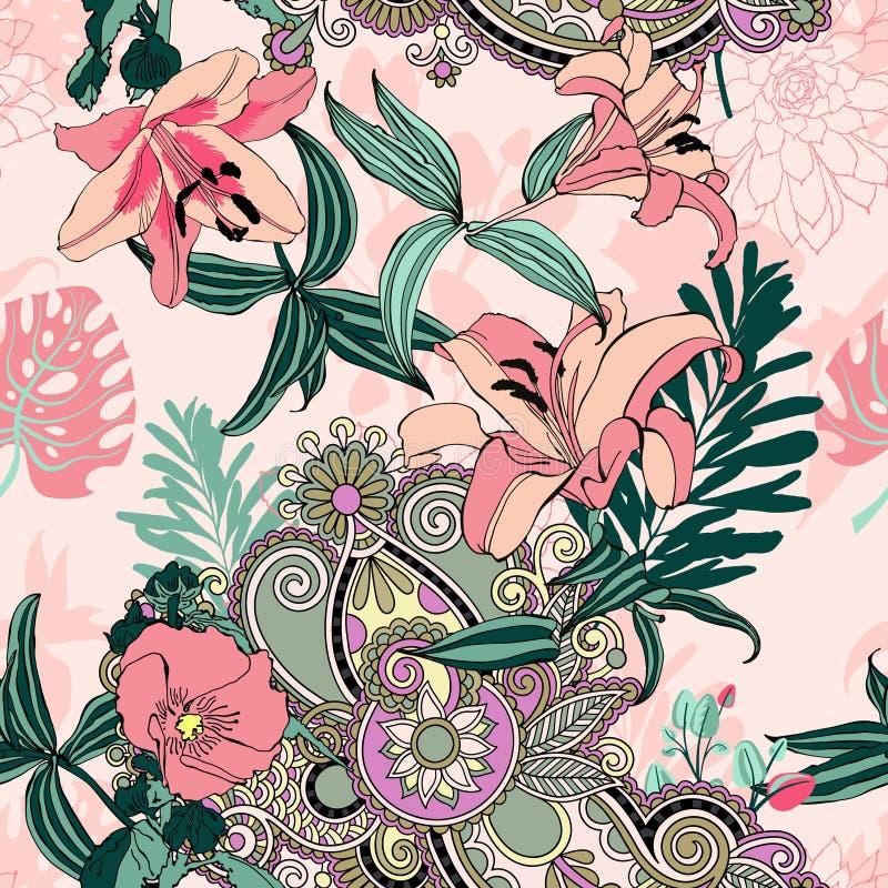 Modello di fiore artistico senza cuciture d'avanguardia originale illustrazione vettoriale