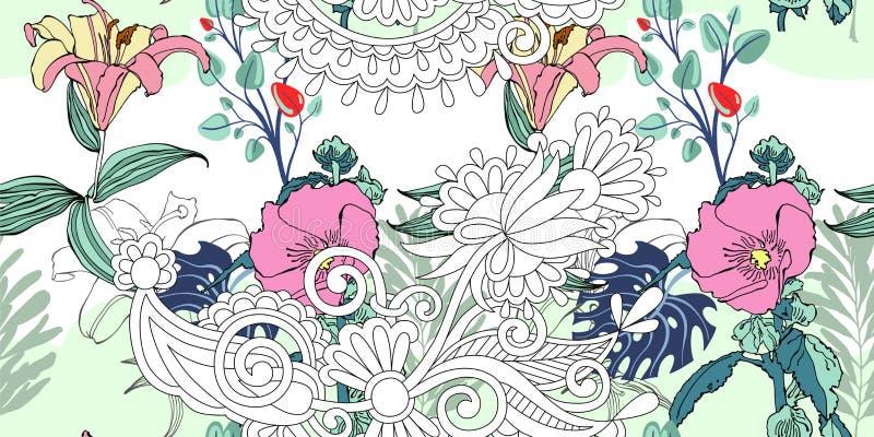 Modello di fiore artistico senza cuciture d'avanguardia originale, bello trop illustrazione vettoriale