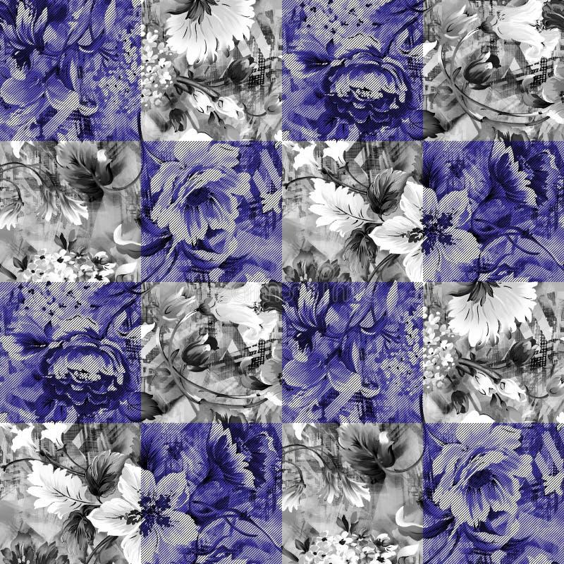 Modello di fiore in bianco e nero e blu nella linea illustrazione vettoriale