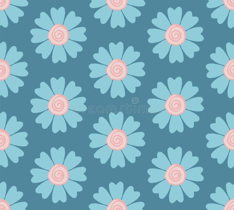 Modello di fiore blu pastello senza cuciture moderno royalty illustrazione gratis