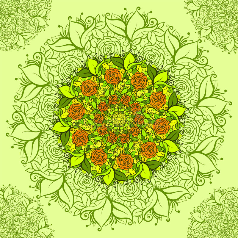 Modello di fiore complesso di vettore Vector il modello senza cuciture floreale nello stile di boho di hippy royalty illustrazione gratis