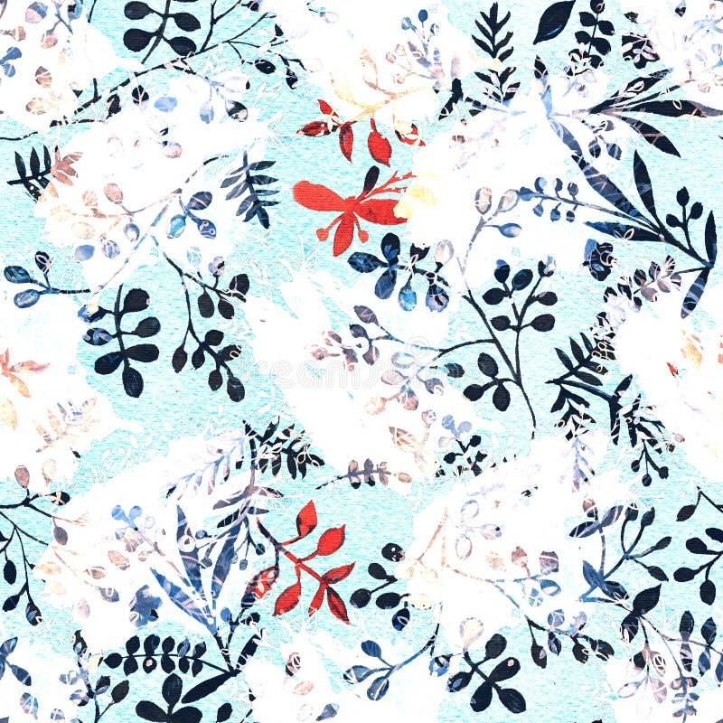 Modello di fiore con le piante tropicali Un acquerello per il DES del fiore fotografia stock libera da diritti