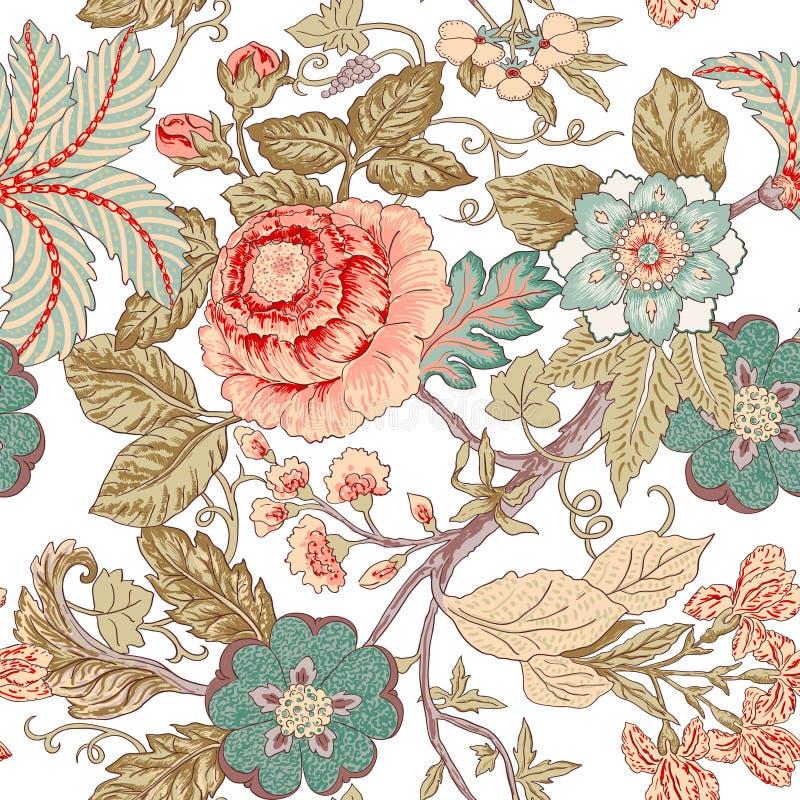 Modello di fiore d'annata illustrazione di stock