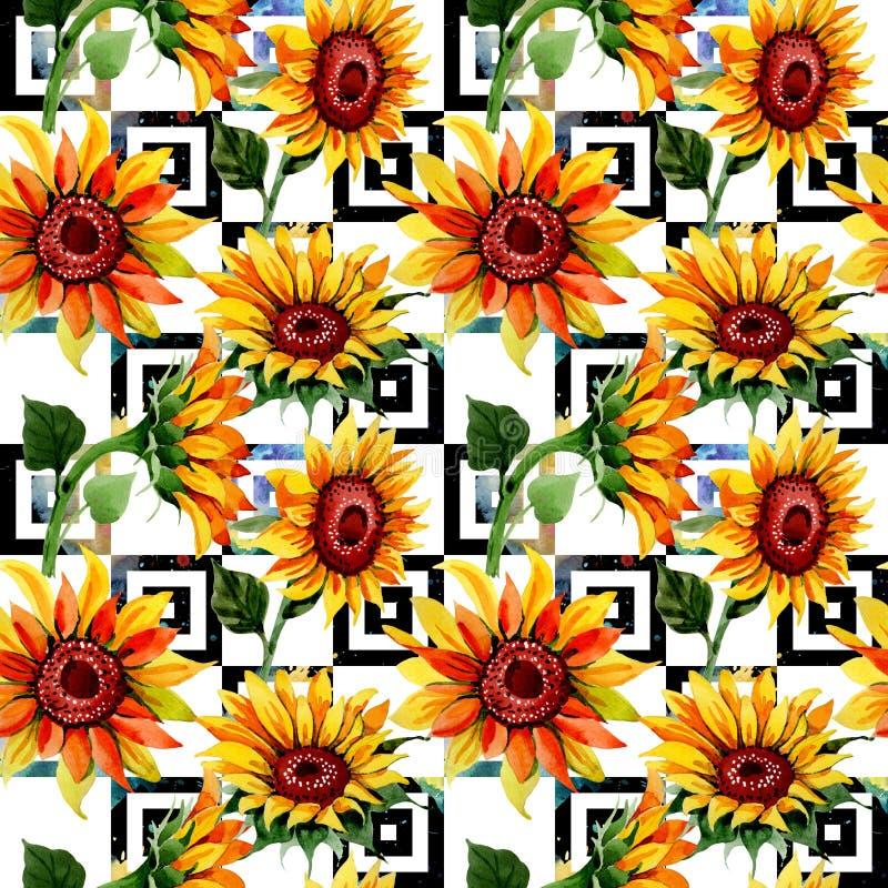 Modello di fiore del girasole del Wildflower in uno stile dell'acquerello royalty illustrazione gratis
