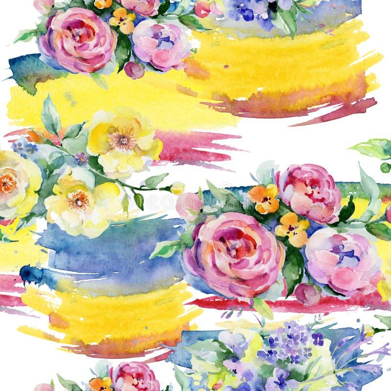 Modello di fiore del mazzo in uno stile dell'acquerello illustrazione di stock