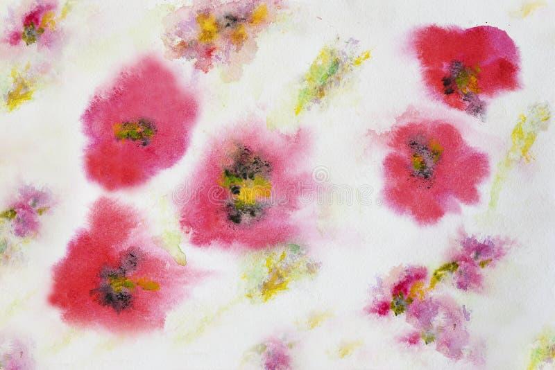 Modello di fiore del papavero, acquerello dipinto a mano, struttura di carta del grano Progettazione di arte, insegna Per fondo,  illustrazione di stock