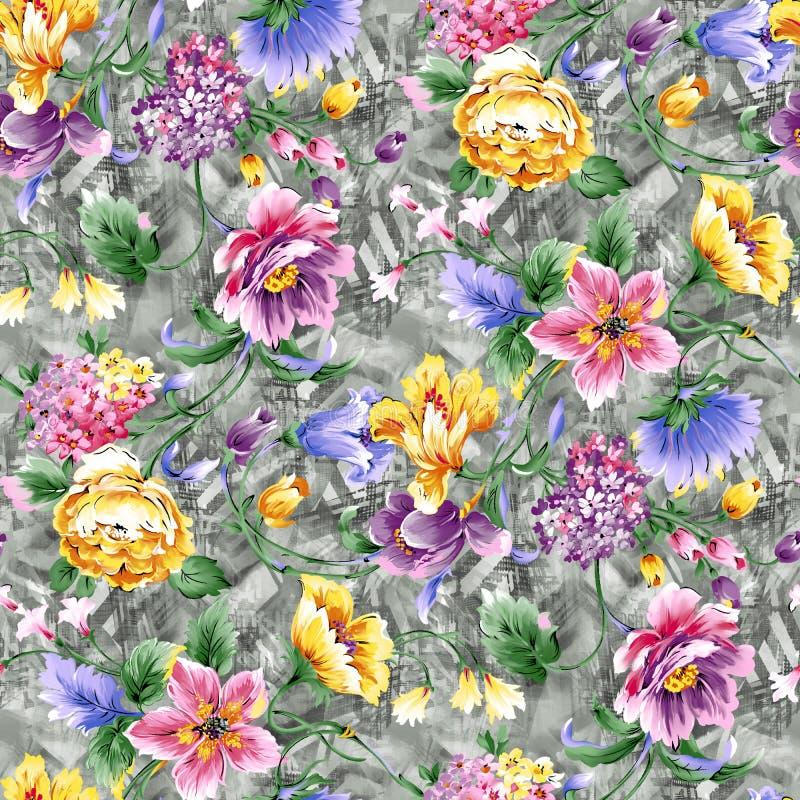 Modello di fiore dell'acquerello con fondo illustrazione vettoriale