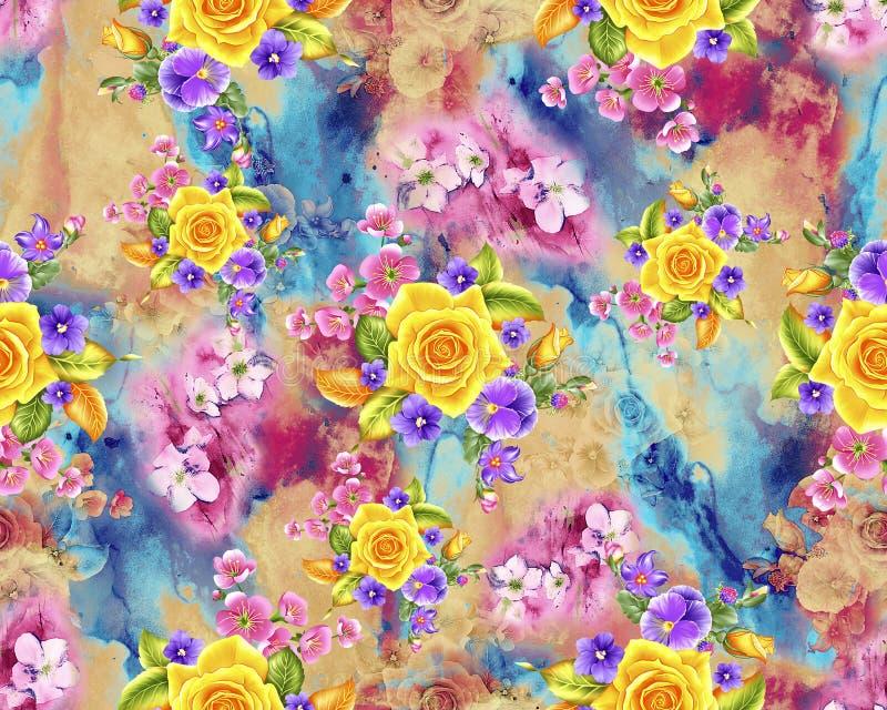 Modello di fiore dell'acquerello con fondo variopinto illustrazione di stock