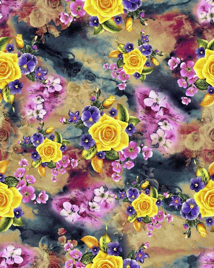 Modello di fiore dell'acquerello con la linea fondo di effetto illustrazione di stock