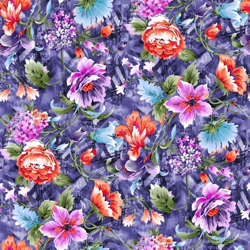 Modello di fiore dell'acquerello su fondo blu illustrazione di stock