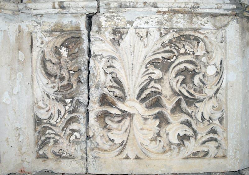 Modello di fiore di pietra antico, struttura fotografia stock libera da diritti