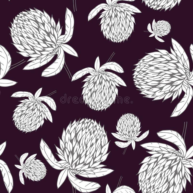 Modello di fiore disegnato a mano del trifoglio royalty illustrazione gratis