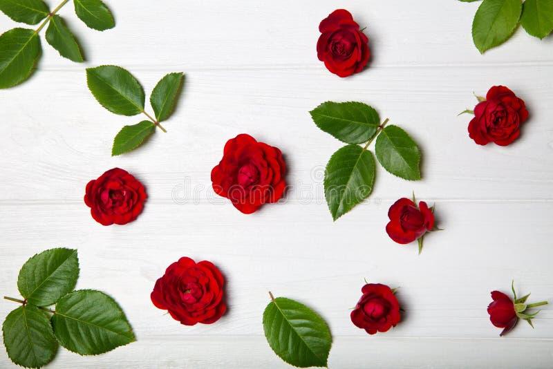 Modello di fiore fatto dalle rose rosse e dalle foglie Vista da sopra immagine stock libera da diritti