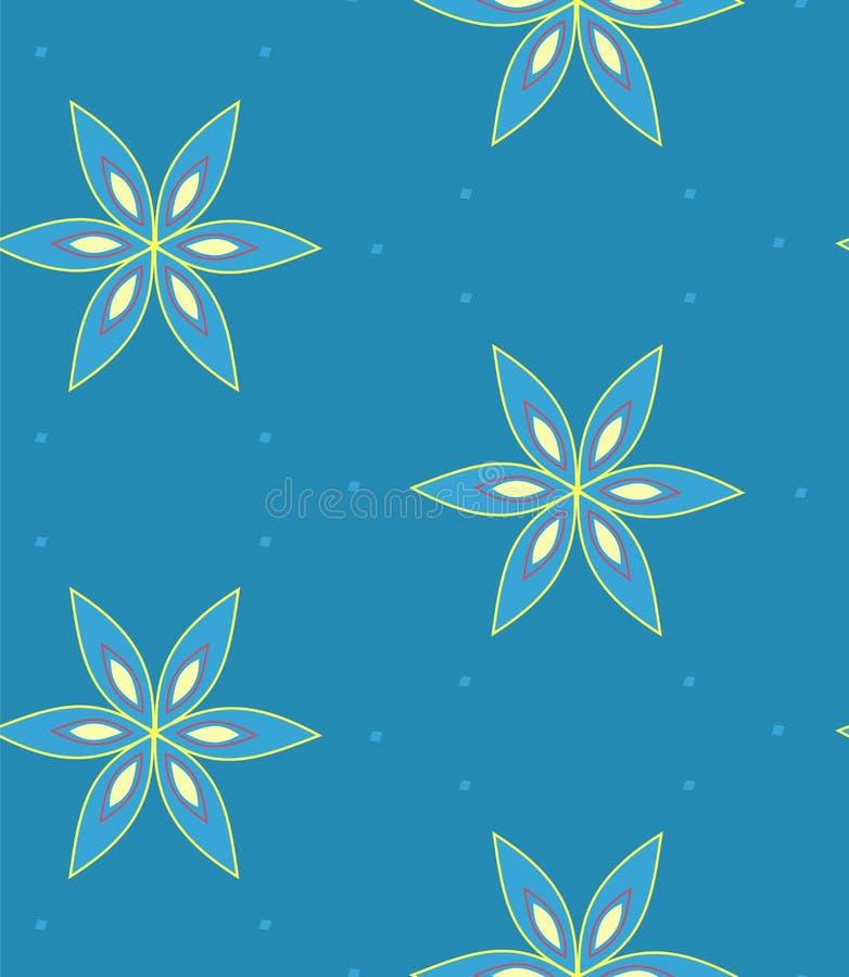 Modello di fiore geometrico multicolore su fondo blu, senza cuciture illustrazione di stock