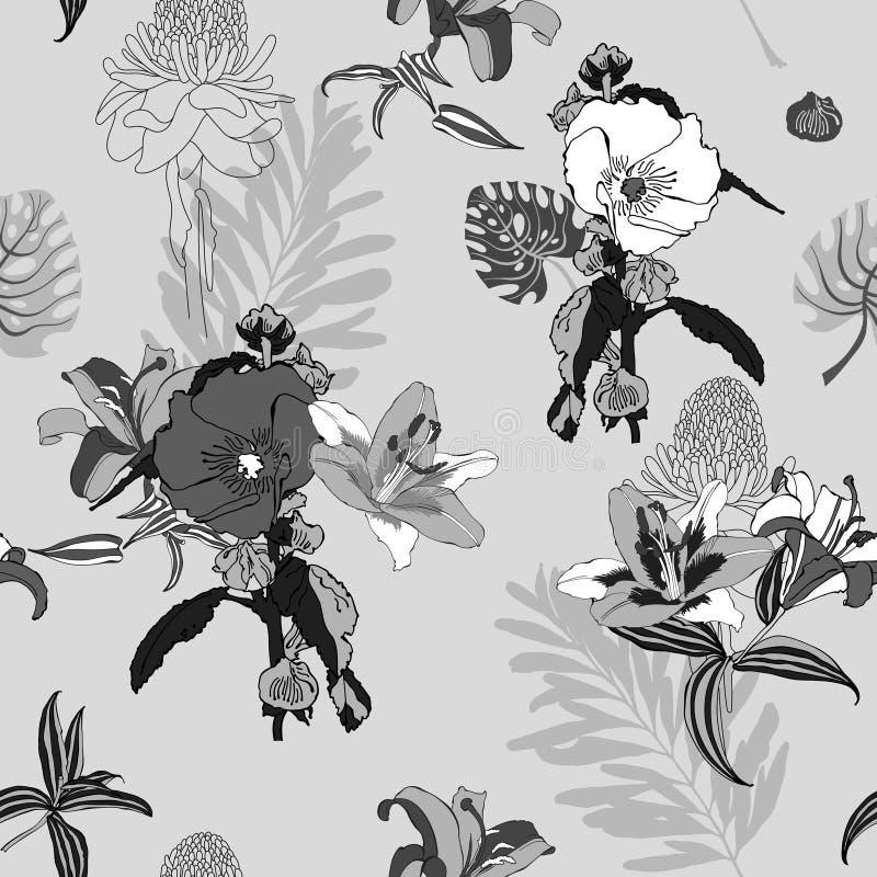 Modello di fiore, il nero e briciolo artistici senza cuciture d'avanguardia originali illustrazione vettoriale