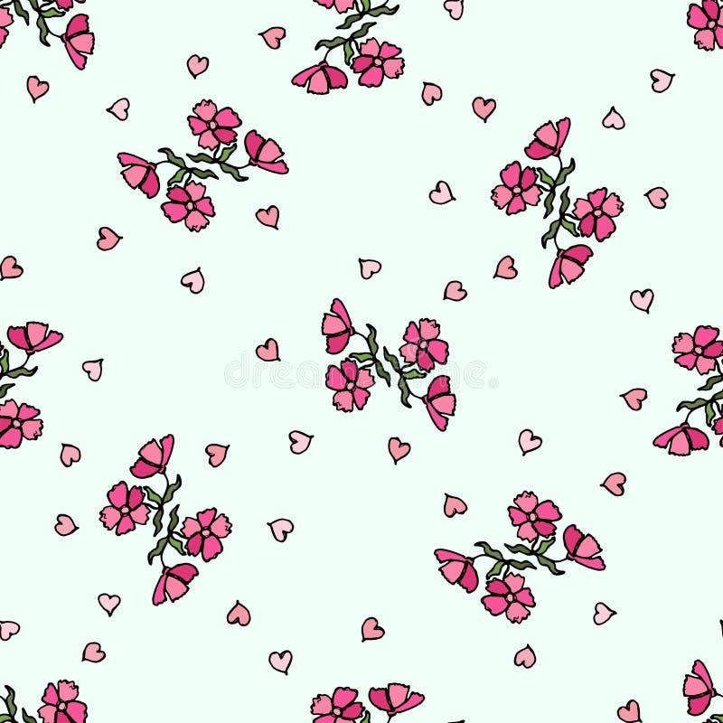 Modello di fiore di piccoli fiori Struttura senza giunte di vettore illustrazione vettoriale