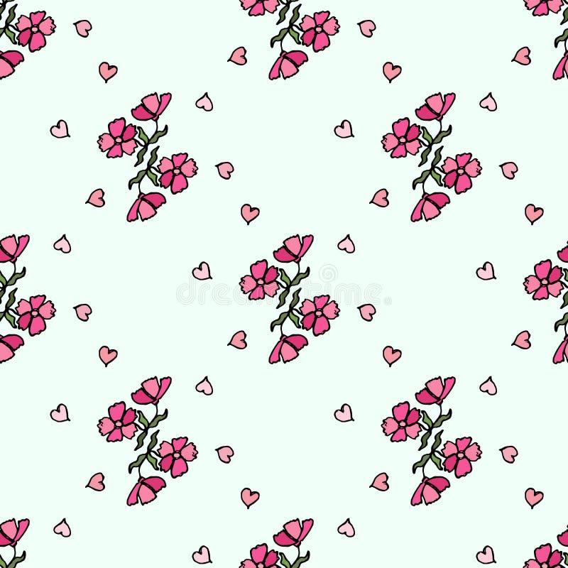 Modello di fiore di piccoli fiori Struttura senza giunte di vettore illustrazione di stock